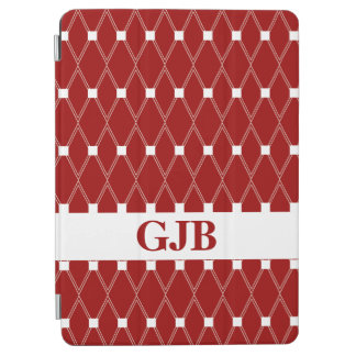 Maroon Argyle Lattice with monogram iPad Air Cover