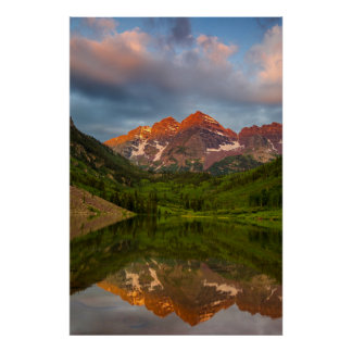 Maroon Bells Reflect Into Calm Maroon Lake 3 Poster