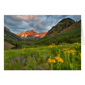 Maroon Bells Reflect Into Calm Maroon Lake Card