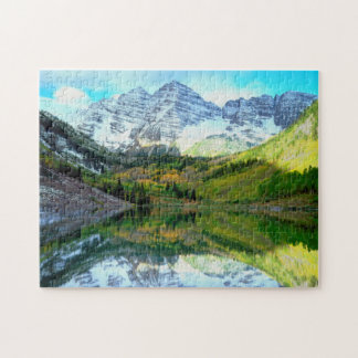 Maroon Bells reflecting in Maroon Lake Jigsaw Puzzle