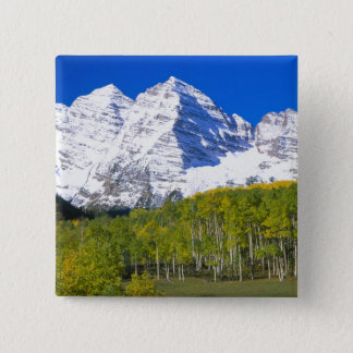 Maroon Bells with autumn aspen forest. 15 Cm Square Badge