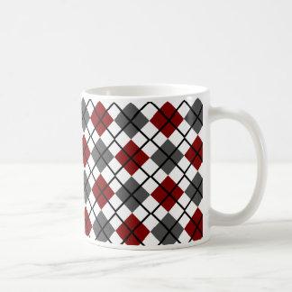 Maroon, Black, Grey on White Argyle Print Mug