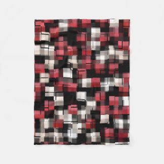 Maroon Black White Abstract Plaid Fleece Blanket