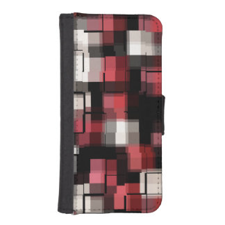 Maroon Black White Abstract Plaid iPhone SE/5/5s Wallet Case