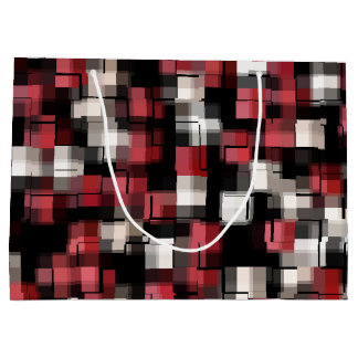 Maroon Black White Abstract Plaid Large Gift Bag
