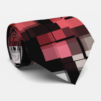 Maroon Black White Abstract Plaid Tie