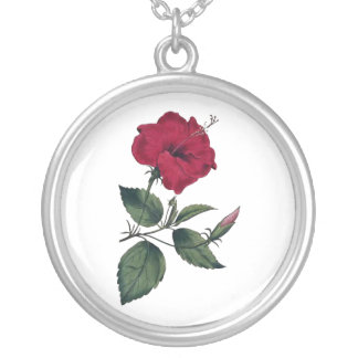 Maroon Botanical Hibiscus Blossom Silver Plated Necklace