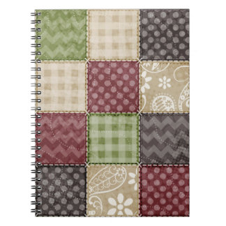 Maroon, Brown, Tan, & Green Quilt Look Spiral Note Book