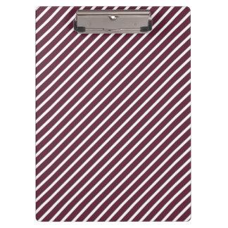 Maroon, Burgundy and White Diagonal Stripes Clipboard