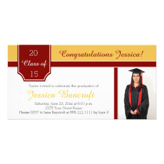 Maroon Burgundy Gold Photo Graduation Party Invite Customized Photo Card
