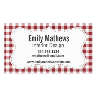 Maroon Checkered Pattern Business Cards