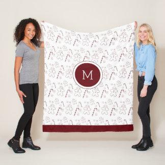 Maroon Christmas Pattern Monogram | Fleece Blanket