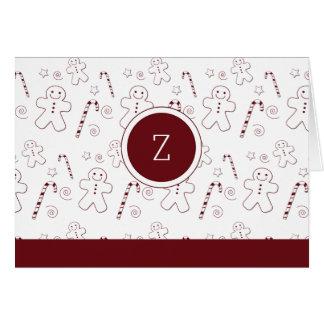 Maroon Christmas Pattern Monogram | Greeting Card