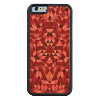 Maroon circular triangle pattern carved cherry iPhone 6 bumper case