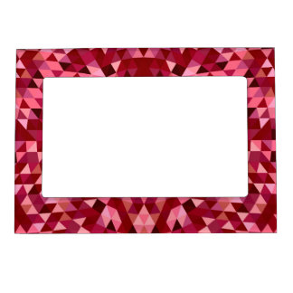 Maroon circular triangle pattern magnetic picture frame