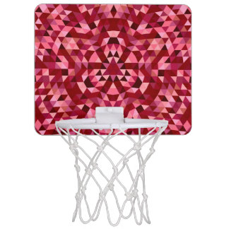 Maroon circular triangle pattern mini basketball hoop