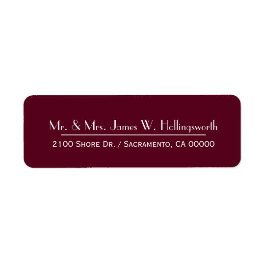 Maroon Custom Return Address Return Address Label