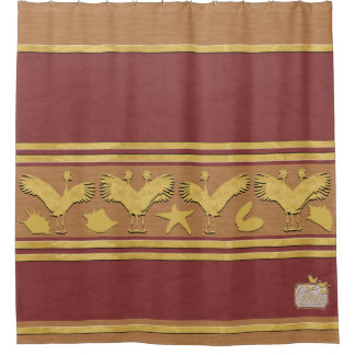 Maroon Decorative Gold Shells Crane Shower Curtain