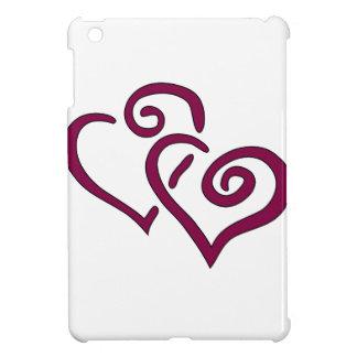 Maroon Double Heart iPad Mini Cases