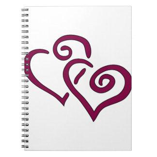 Maroon Double Heart Notebook