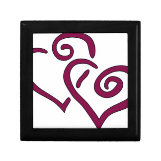 Maroon Double Heart Small Square Gift Box