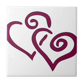 Maroon Double Heart Tile