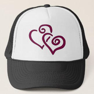 Maroon Double Heart Trucker Hat