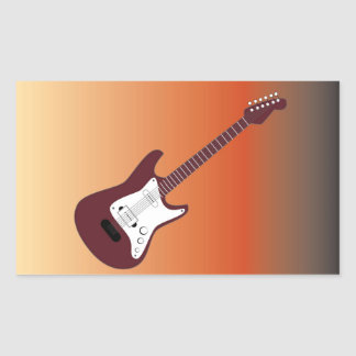 Maroon Electric Guitar, Red to Yellow Gradient Bac Rectangle Stickers