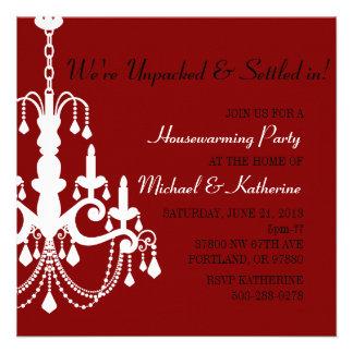 Maroon Elegant Chandelier Housewarming Invite