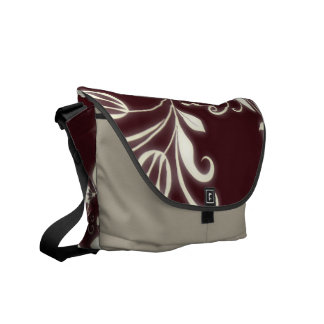Maroon Flowers Messenger Bag