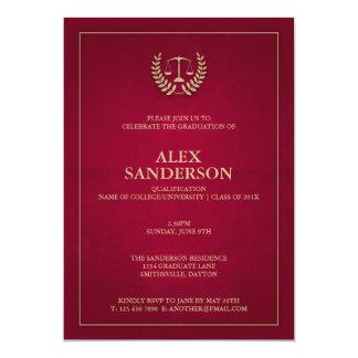 Maroon+Gold Justice Scales Law School Graduation 13 Cm X 18 Cm Invitation Card