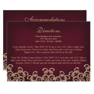 Maroon Gold Moroccan Directions Accommodation Card