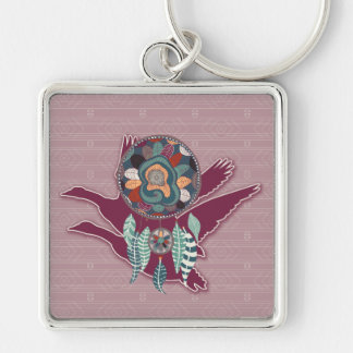 Maroon Goose Spirit Guide for Native American Key Ring