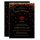 Maroon Graduation Invitation | Faux Gold Glitter
