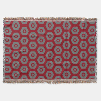 Maroon Grey Geometric 4Jessie Throw Blanket