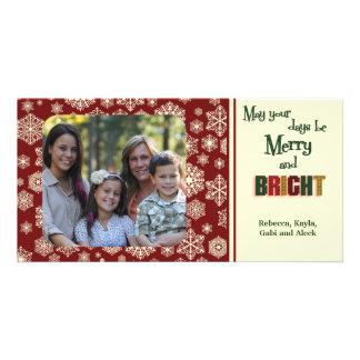 Maroon Holiday Snowflakes Photo Card Template