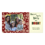 Maroon Holiday Snowflakes Picture Card