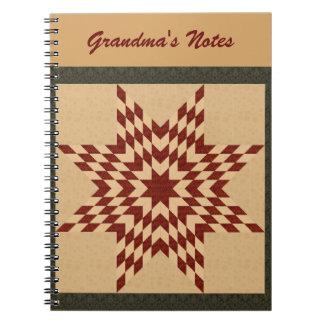 Maroon Lone Star Quilt Design Notebook