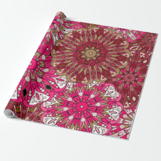 Maroon mandalas florals wrapping paper