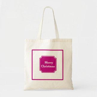 Maroon Merry Christmas Holiday Shopping Tote Bag