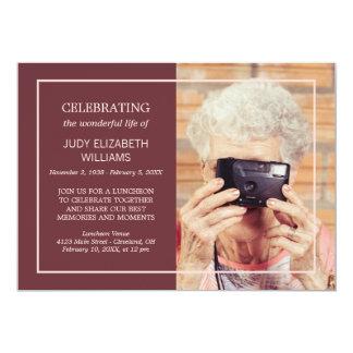 Maroon Minimal Celebrating Life | Custom Photo Card