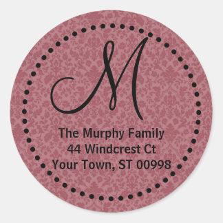 Maroon monogram return address label (#LABL 014) Round Sticker
