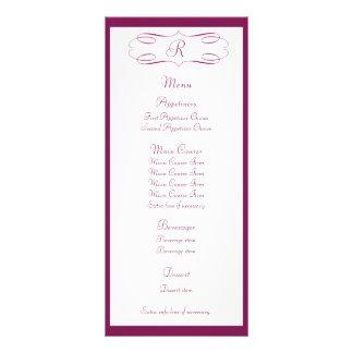 Maroon Monogram Wedding Menu Rack Card