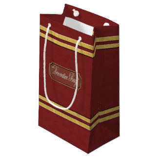 Maroon or Red Gold Lines Small Gift Bag