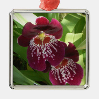 Maroon Orchids II Elegant Floral Silver-Colored Square Decoration