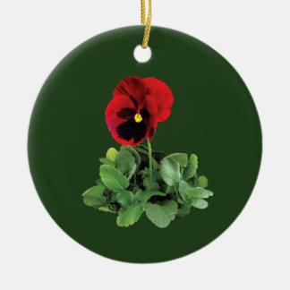 Maroon Pansy Ceramic Ornament