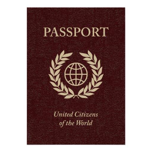 maroon passport custom invitation
