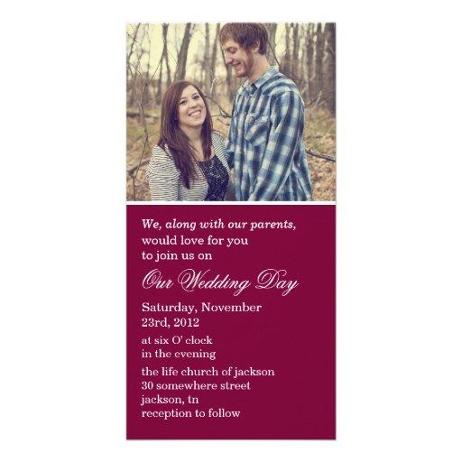 Maroon Photo Cards Wedding Invites