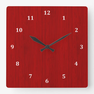 Maroon Red Bamboo Wood Grain Look Square Wall Clock