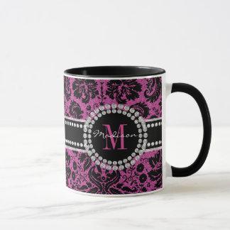 Maroon, red-black glitter Damask, Name, Monogram Mug